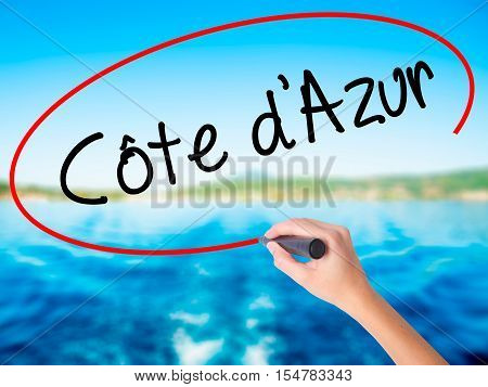 Woman Hand Writing C�´te D'azur With A Marker Over Transparent Board