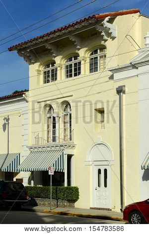 Historical Spanish style building on South County Road in Palm Beach, Florida, USA.