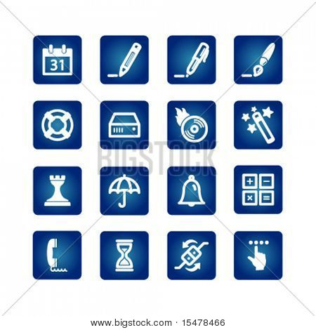 software icons on the blue background