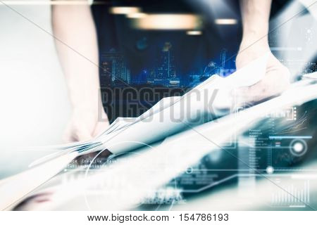 Business Woman Prepare Documents And Graph Business Diagram And Business People Working In The Backg