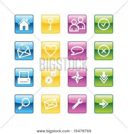 Aqua grundlegende Web Icons. Vektordatei hat Schichten, alle Symbole in vier Versionen sind enthalten.