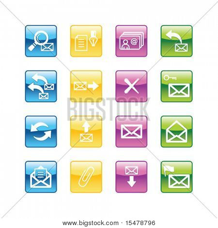Aqua e-mail icons. Vector file has layers, all icons in four versions are included.
