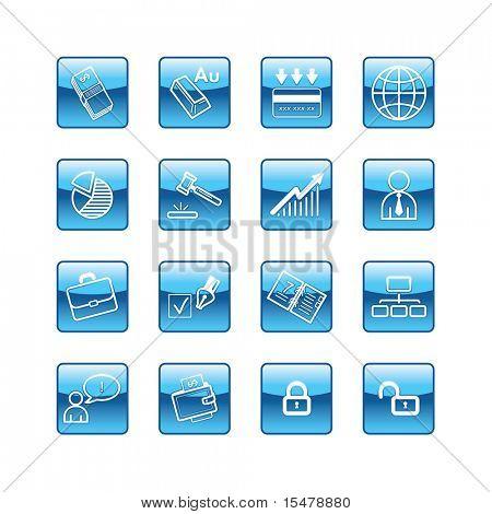 blue aqua business icons (raster)