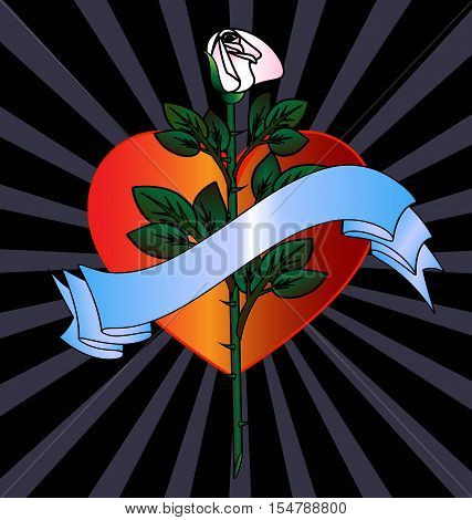 dark background and the large scarlet heart with abstract white rose and blue tape