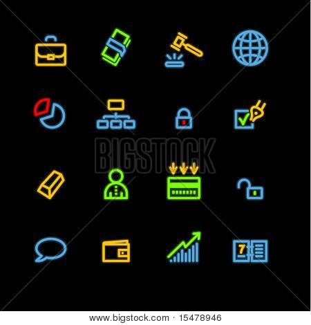 neon business icons (raster)