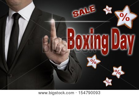 Boxing Day Touchscreen Is Operated By Businessman