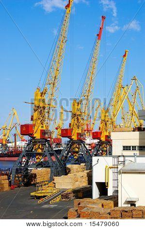 hoisting cranes at seaport