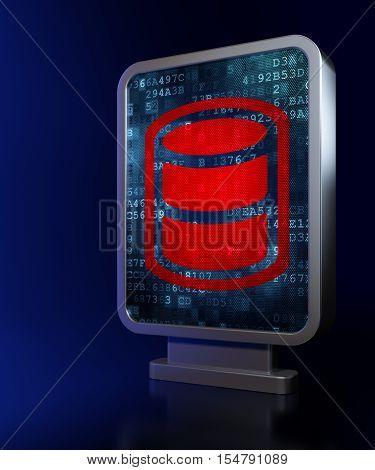Database concept: Database on advertising billboard background, 3D rendering