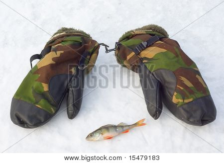camouflage mittens and perch