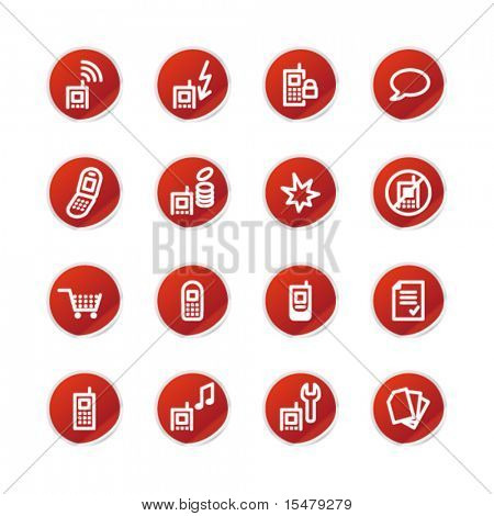 red sticker mobile phone icons