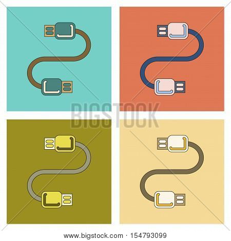 assembly of flat icon electricity usb cable