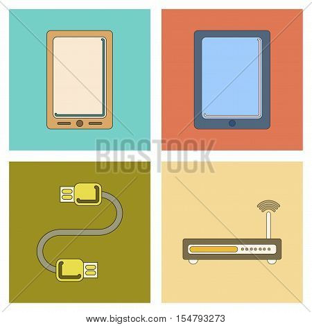 assembly of flat icon Wi fi modem mobile phone gadget usb cable