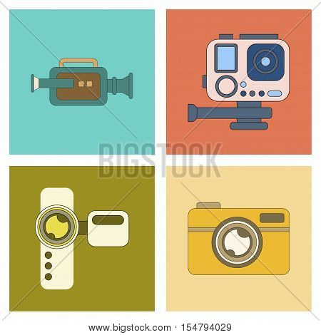 assembly of flat icon multimedia technology camcorder photo camera