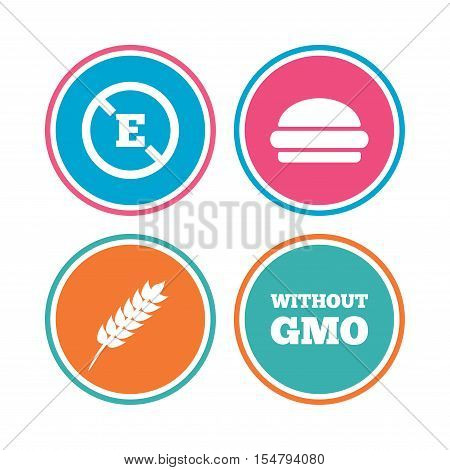 Food additive icon. Hamburger fast food sign. Gluten free and No GMO symbols. Without E acid stabilizers. Colored circle buttons. Vector