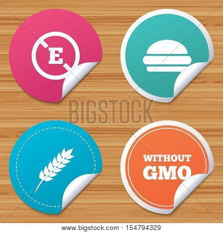 Round stickers or website banners. Food additive icon. Hamburger fast food sign. Gluten free and No GMO symbols. Without E acid stabilizers. Circle badges with bended corner. Vector