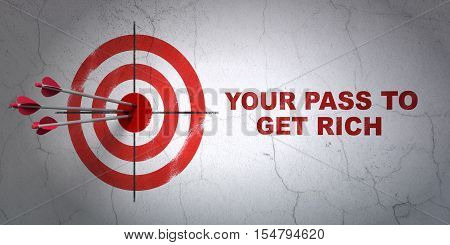 Success finance concept: arrows hitting the center of target, Red Your Pass to Get Rich on wall background, 3D rendering