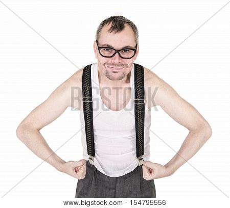 Funny Nerd Man Showing His Muscles