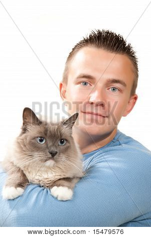 Man Hold His Lovely Ragdoll Cat