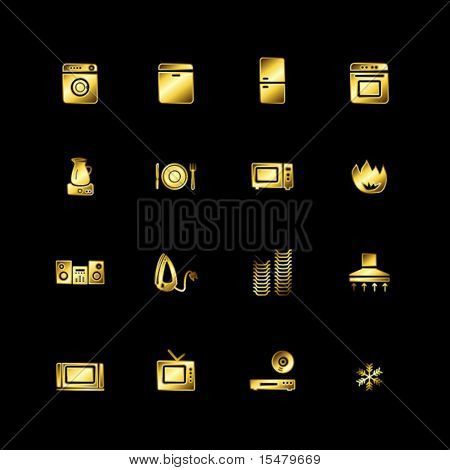 Gold household appliances icons