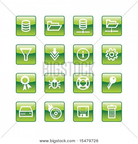 green aqua server icons (raster)