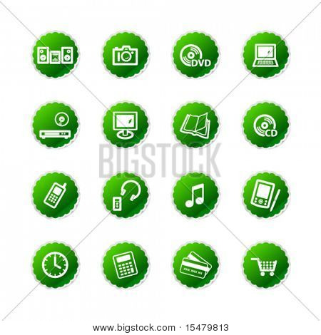 green sticker e-shop icons
