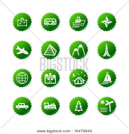 ícones de viagens de etiqueta verde
