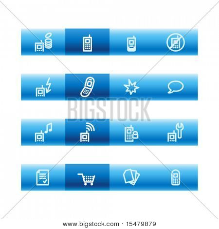 Blue bar mobile phone icons