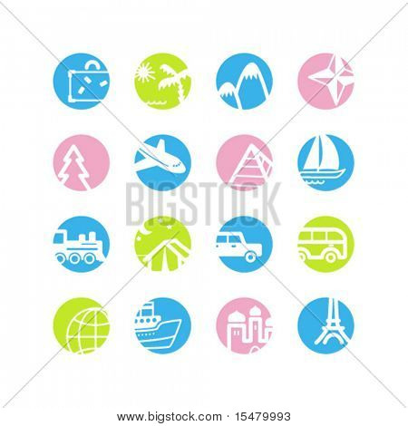 spring circle travel icons