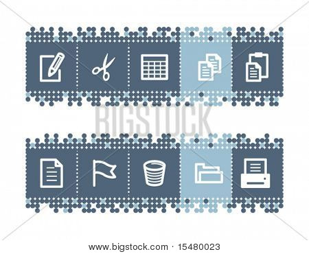 Blue dots bar with document icons. Vector file has layers, all icons in two versions are included.
