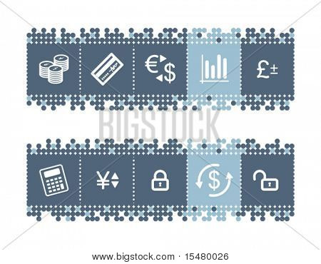 Blue dots bar with money icons. Vector file has layers, all icons in two versions are included.