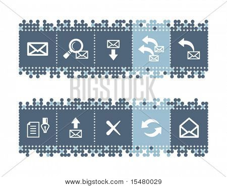 Blue dots bar with e-mail icons. Vector file has layers, all icons in two versions are included.