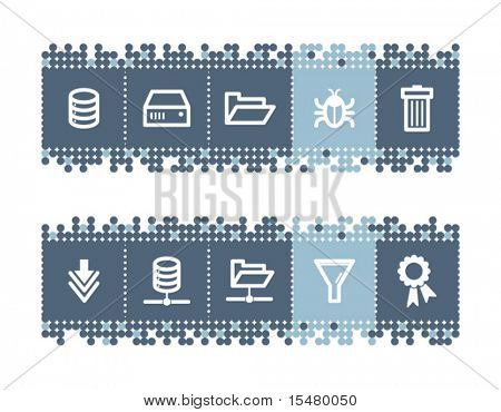 Blue dots bar with server icons. Vector file has layers, all icons in two versions are included.
