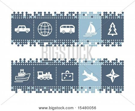 Blue dots bar with travel icons. Vector file has layers, all icons in two versions are included.