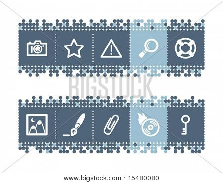 Blue dots bar with image collection icons. Vector file has layers, all icons in two versions are included.