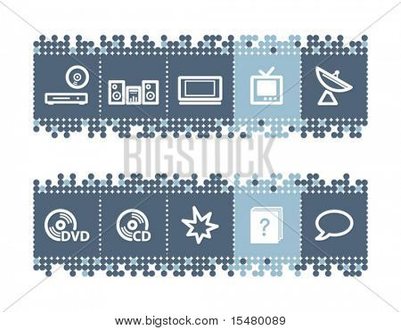 Blue dots bar with home electronics icons. Vector file has layers, all icons in two versions are included