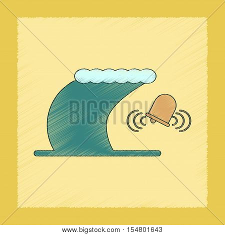 flat shading style icon of tsunami alarming bell