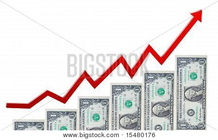 money staircase and red arrow in up
