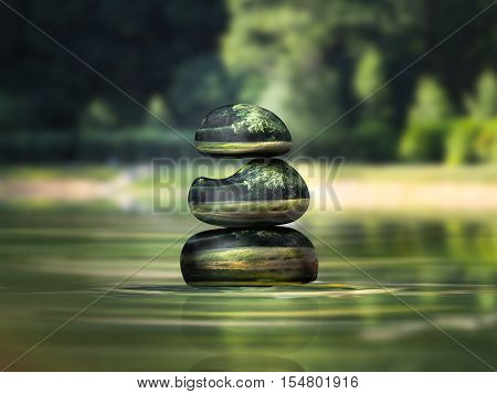Luxury pyramid of stones in water volume. The concept of stability meditation environment