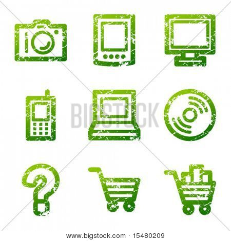 Green grunge electronics contour icons V2
