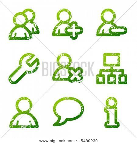 Green grunge users contour icons V2