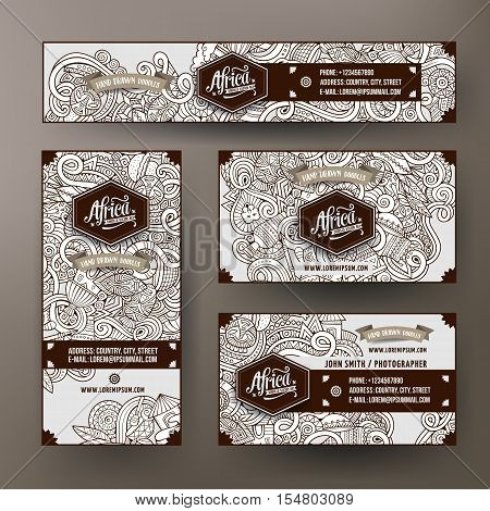 Corporate Identity vector templates set design with doodles hand drawn Africa theme. Line art banner, id cards, flayer design. Templates set