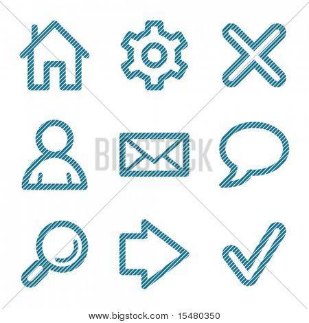 Blue line basic web contour icons V2