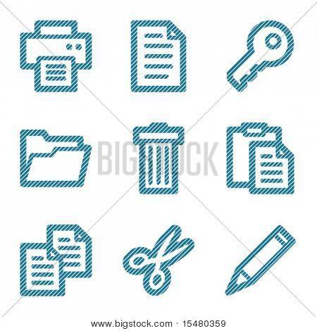 Blue document contour icons V2