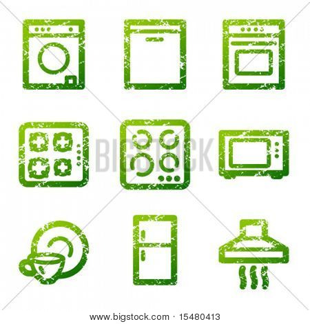 Green grunge household appliances contour icons V2