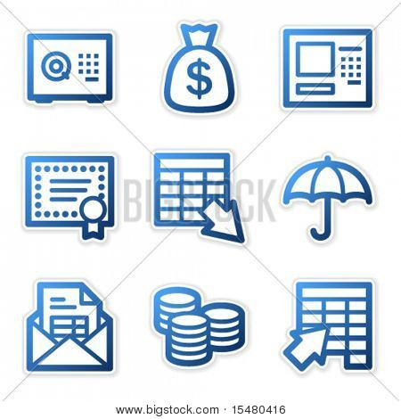 Banking icons, blue contour series