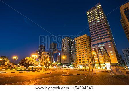 Skyscrapers in Sharjah city  the Lagoon UAE.