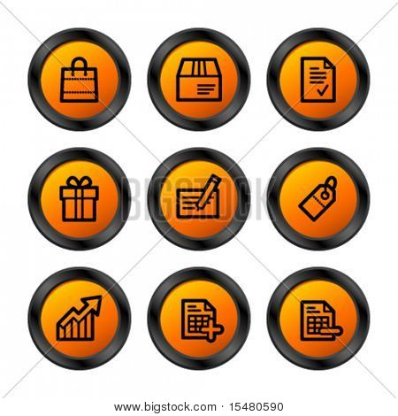 Shopping icons, orange circle series