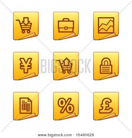 E-business icons, gold sticker series