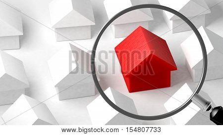 Close up of a house. Focus on its characteristics. Property comparison. Conceptual illustration. 3D Rendering
