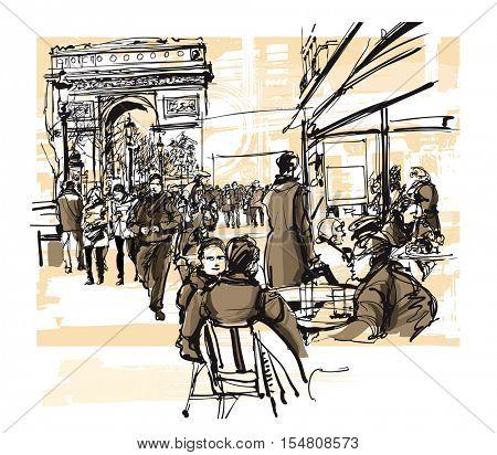 Paris - avenue des champs-elysees - Vector illustration